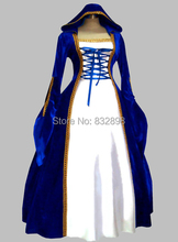 Gothic Blue and White Euro Court Princess Dress Witch Women's Costume