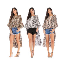 Hot sale 2019 spring and summer European American fashion trendy womens tops Loose mid-length animal pattern shirts