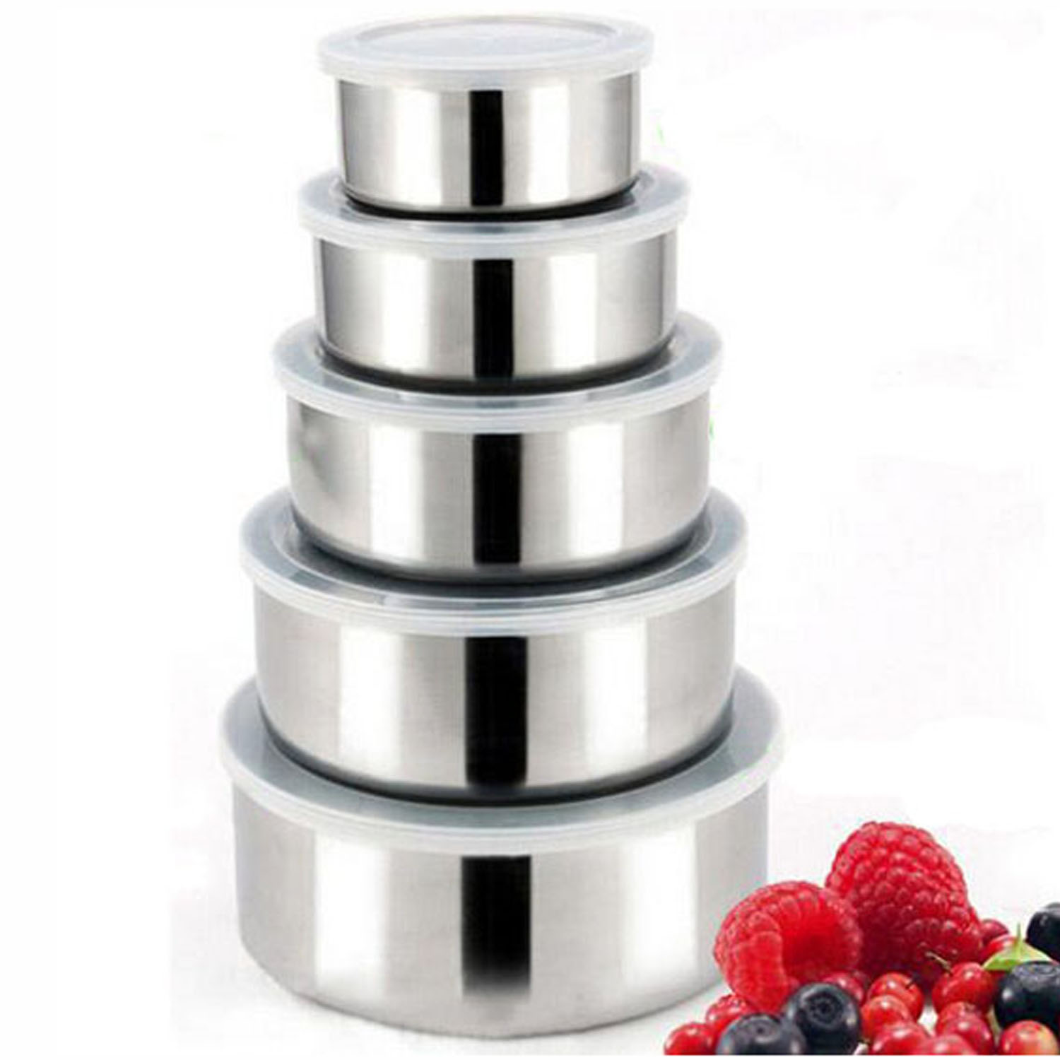 5 pcs Stainless Steel Food Storage Containers Box Mixing Bowls w Airtight lids Preserving Box