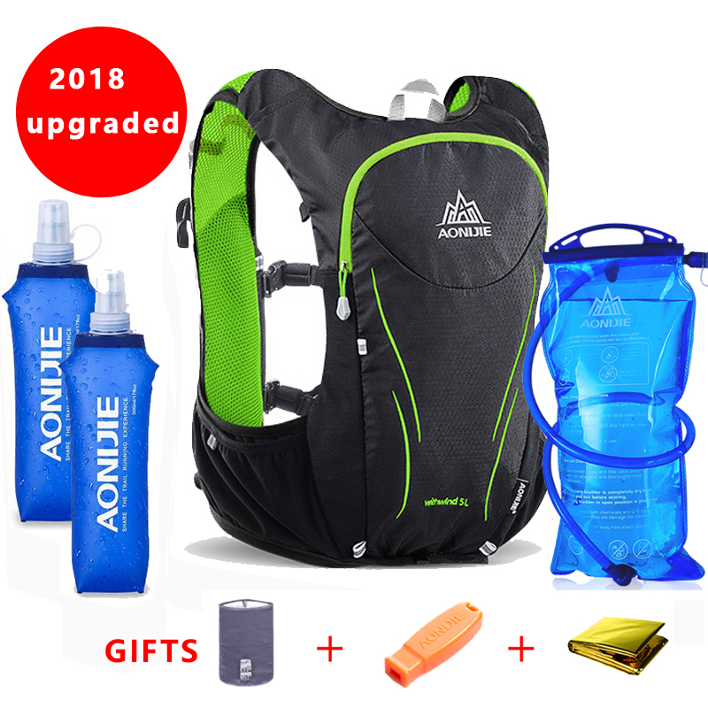2018 AONIJIE 5L Outdoor Sports Backpack Women / Men Marathon Hydration Vest Pack For Exchange Cycling Hiking Water Bag