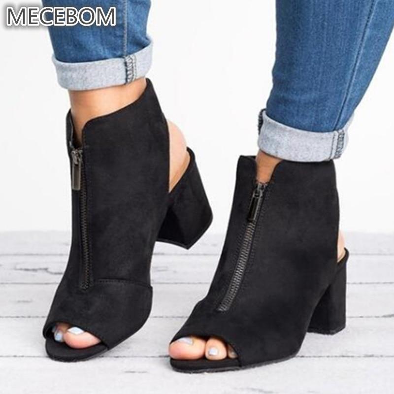 Spring Woman Sandals ladies Shoes Gladiator Casual Peep Toe Antiskid Bottom Zipper Med Thick Heels Wedding Sandalias Mujer 6299W 4