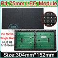 F3.75/P4.75 dot matrix module, módulo single red módulo display LED interior, 62*32 Pixel 304mm * 152mm