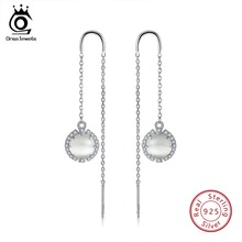 ORSA JEWELS 925 Sterling Silver Women Drop Earrings With Cat's Eye Stone Pearl Natural Stone Dangle Earring Fine Jewelry OSE74 promotion natural strawberry quartz moonstone drop earring with stone 100% 925 sterling silver earrings for women jewelry yea245
