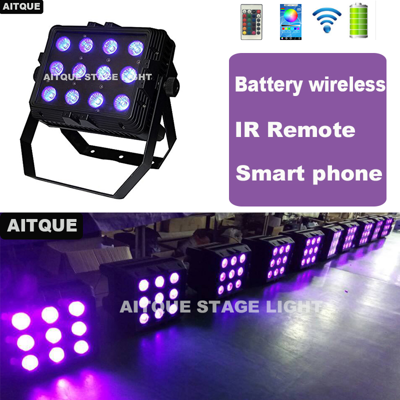 6pcs Outdoor led theater spotlight battery 12x18w dmx wireless battery wall washer wedding uplighting city color