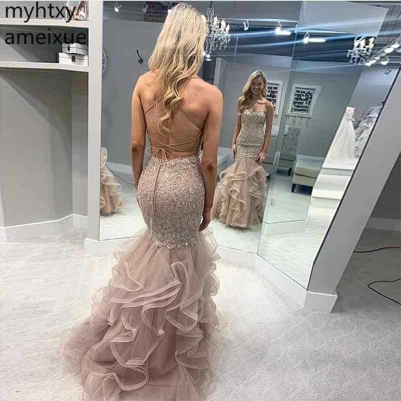 Sexy Lange Custom Prom Dress Kriskras 2019 Terug Champagne Gold Applicaties Robe De Soiree Tiered Tule Rok Vrouwen Formele Party