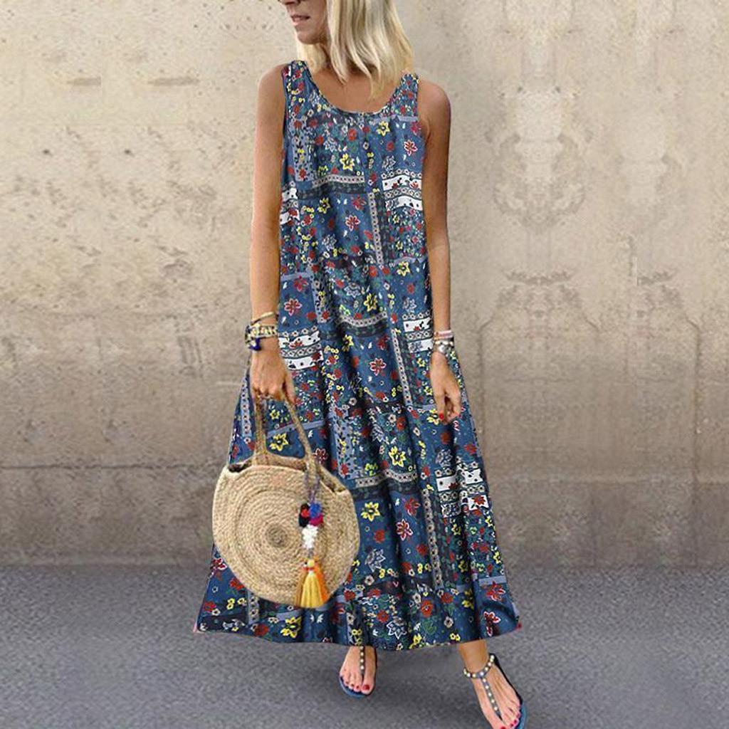 Beach Dress Women Plus Size Casual Loose Sleeveless Nationsl Style Print Long Maxi Dress Спідниця на пляжі Jupe De Plage