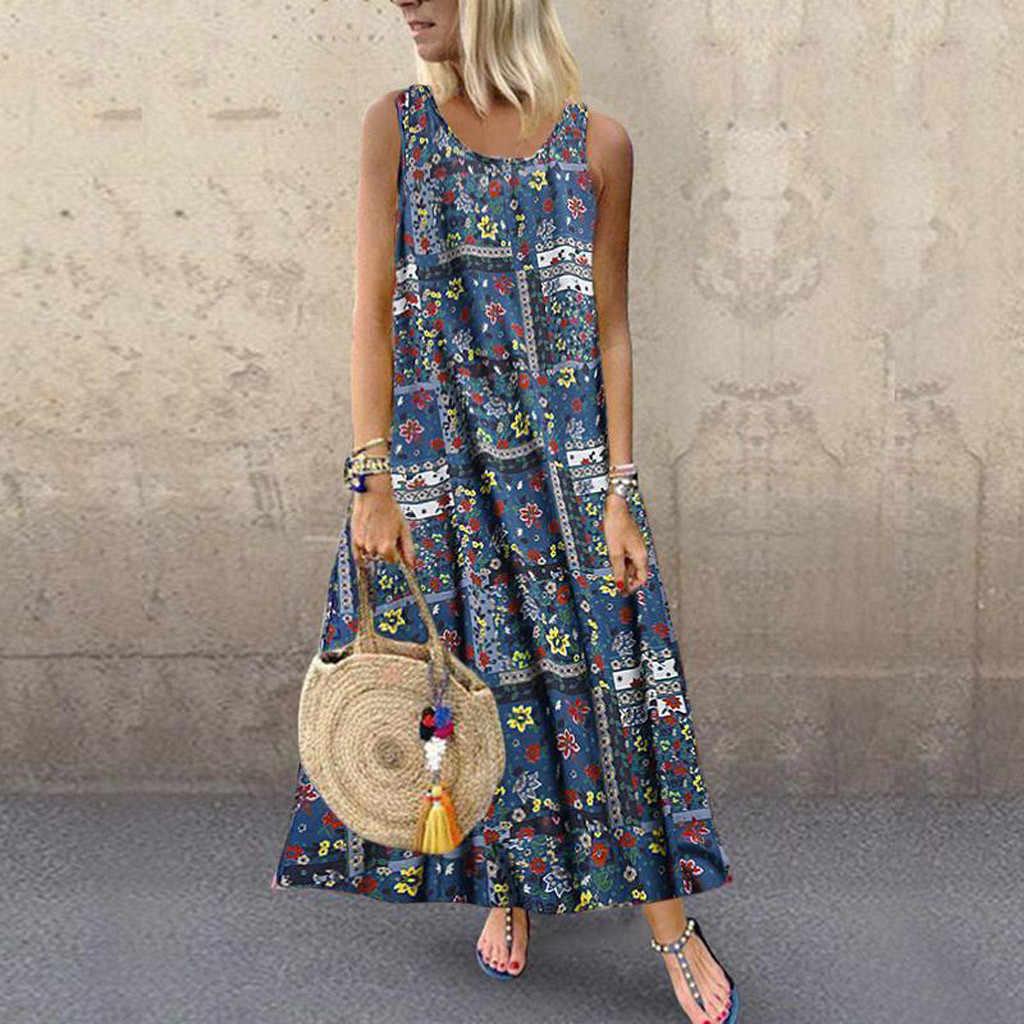 Robe de plage femmes grande taille décontracté sans manches Nationsl Style impression longue robe Maxi