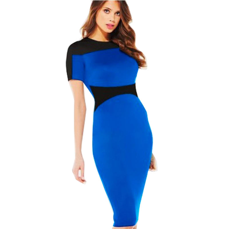 6bd6188fbac7 New Fashion Style Womens Pinup Short Sleeve Rockabilly Colorblock Bodycon  Stretch Shift Wiggle O-Neck Pencil Dress 641
