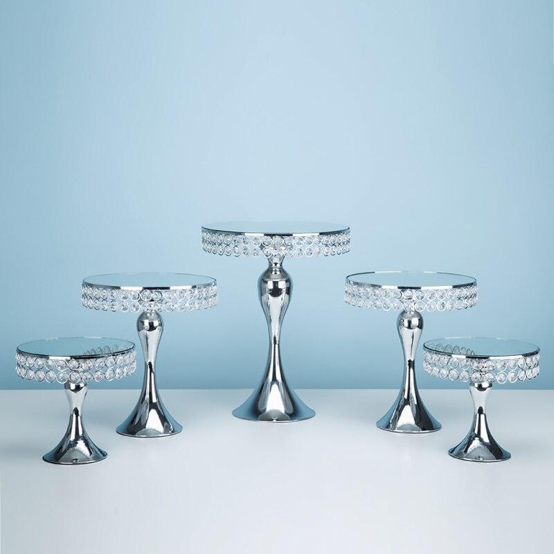 5 teile/satz Gold & Silber Kuchen Ständer Set Cmirror Gesicht Fondant Cupcake Süße Tabelle Candy Bar Tisch Dekorieren-in Ständer aus Heim und Garten bei  Gruppe 1