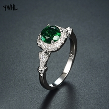 New vintage inlaid dark green ring female Christmas wedding gift