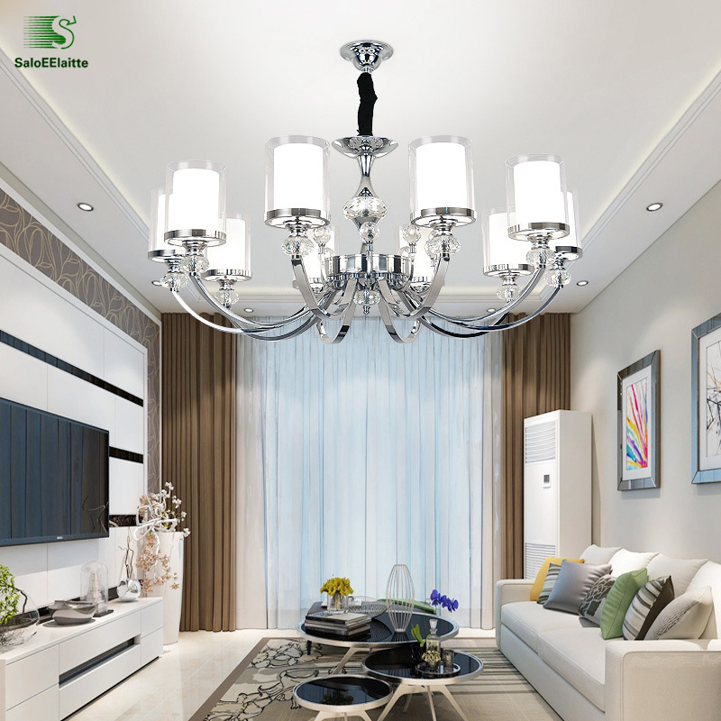 Modern Lustre Crystal Led Chandeliers Lighting Chrome Metal Dining Room Led Pendant Chandelier Living Room Hanging Light Fixture zipper up hooded camo lightweight jacket