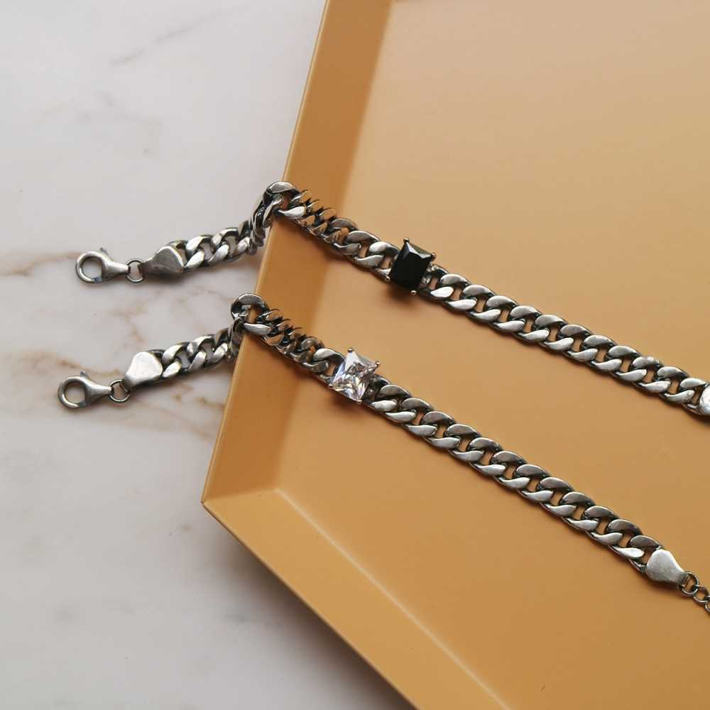 Ciężki Vintage gruby krawężnik srebrny łańcuszek bransoletka szterling 925 tłoczona geometryczna czarna jasny kryształ pasjans Hip Hop bransoletki