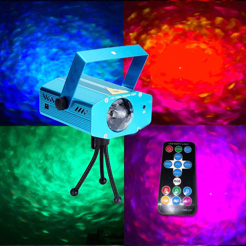 RGB светодиодный свет волны воды сценический свет алюминий дистанционное управление пульсация дисплей лазерный мини-проектор лампы для вечерние Рождество