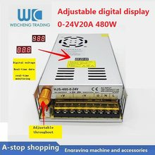 Fonte de alimentação ajustável 0-24 v 20a do interruptor da c.c. da indicação digital