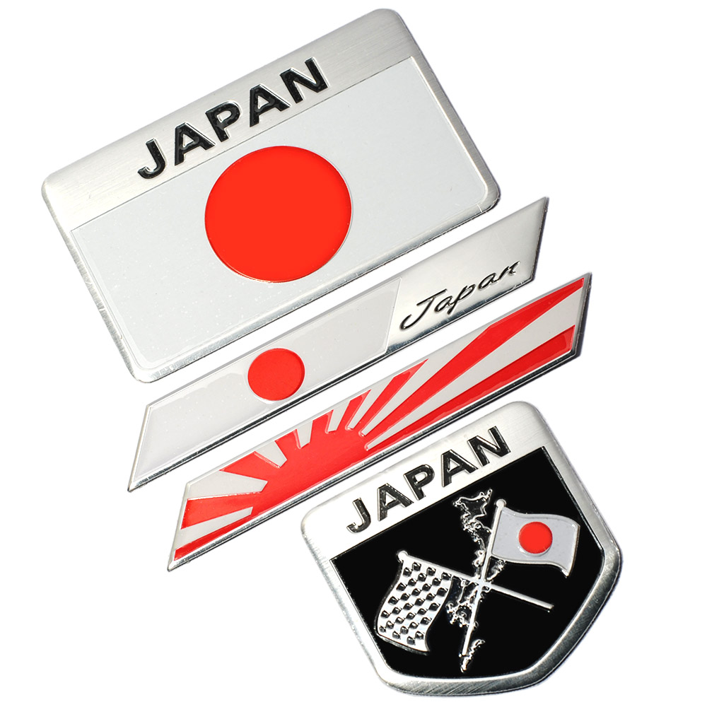 4Pcs/lot Japanese Flag Emblem Badge Car Motorcycle Sticker Decal for KAWASAKI SUZUKI YAMAHA Honda Toyota Nissan Mazda Mitsubishi