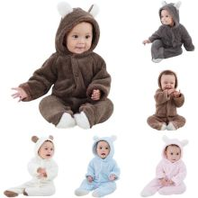 Baby Rompers Newborn Baby Girl Pakaian Set Cute 3D Bear Telinga Jumpsuit Baby Boy Pakaian Set Musim sejuk Winter Warm Jumpsuit Baby Set