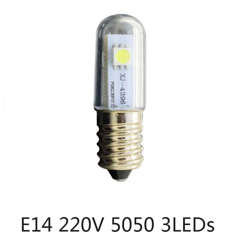Mini <font><b>E14</b></font> <font><b>LED</b></font> Refrigerator Lights SMD5050 0.5W Warm White AC 220V Microwave Ovens Range Hood Night Table Sewing Machine <font><b>Lamp</b></font> image
