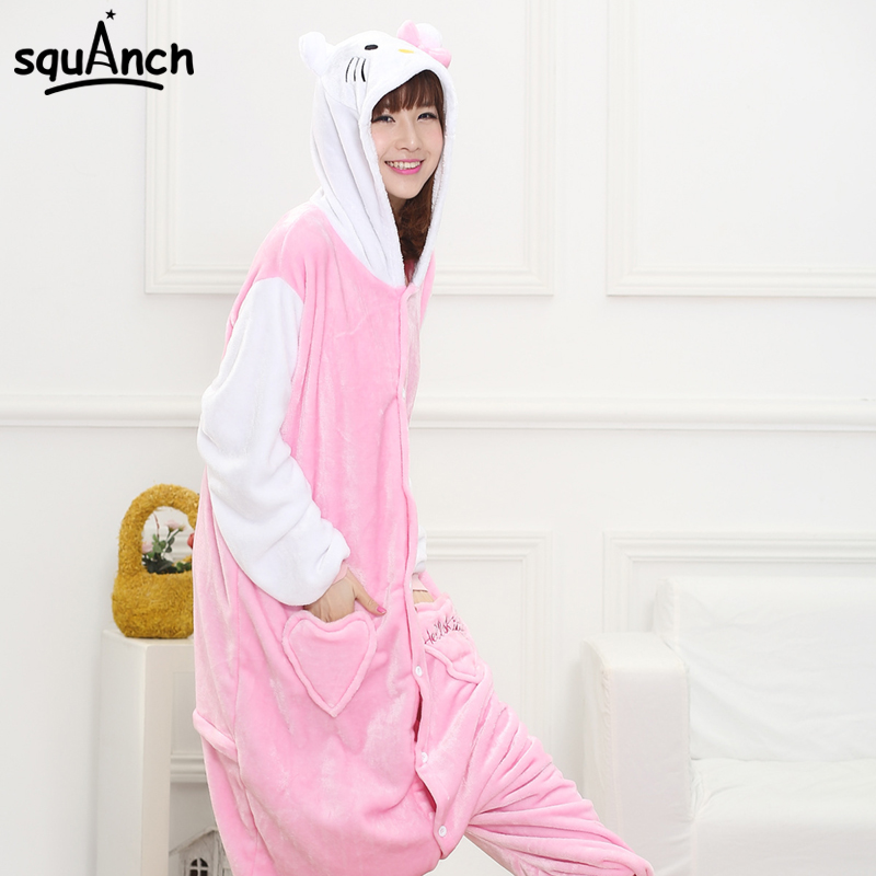 Women Adult Kitty Cat Cosplay Costume Pink White Animal Pajama Cute Jumpsuit Carnival Party Cartoon Character Night Sleep Wear