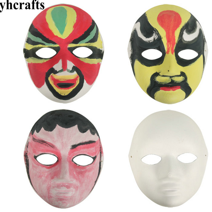 10PCS/LOT.Blank paper pulp full face mask Drawing toys Kindergarten arts and crafts Early learning educational toys Creative