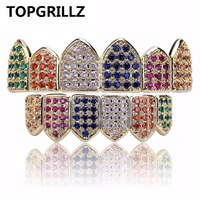 TOPGRILLZ Gold Silver Color Grillz Multi Color Micro Pave CZ Bling Cubic Zirconia Top Bottom Teeth