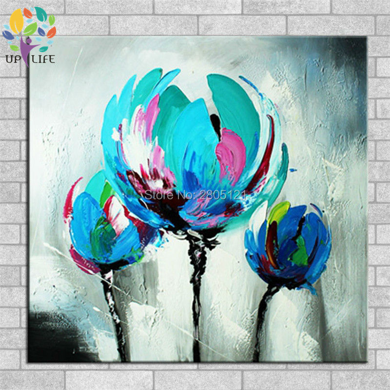 100% Hand made promotion bloom blue Flowers canvas painting Abstract - Home Decor - Photo 1