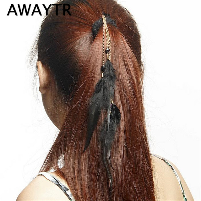 2017 Awaytr Brand Long Rope Feather Hair Extensions Clip In Hair