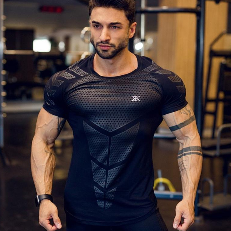 Compression Quick Dry T-shirt Men Running Sport Skinny Short Tee Shirt Male Gym Fitness Bodybuilding Workout Black Tops Clothing