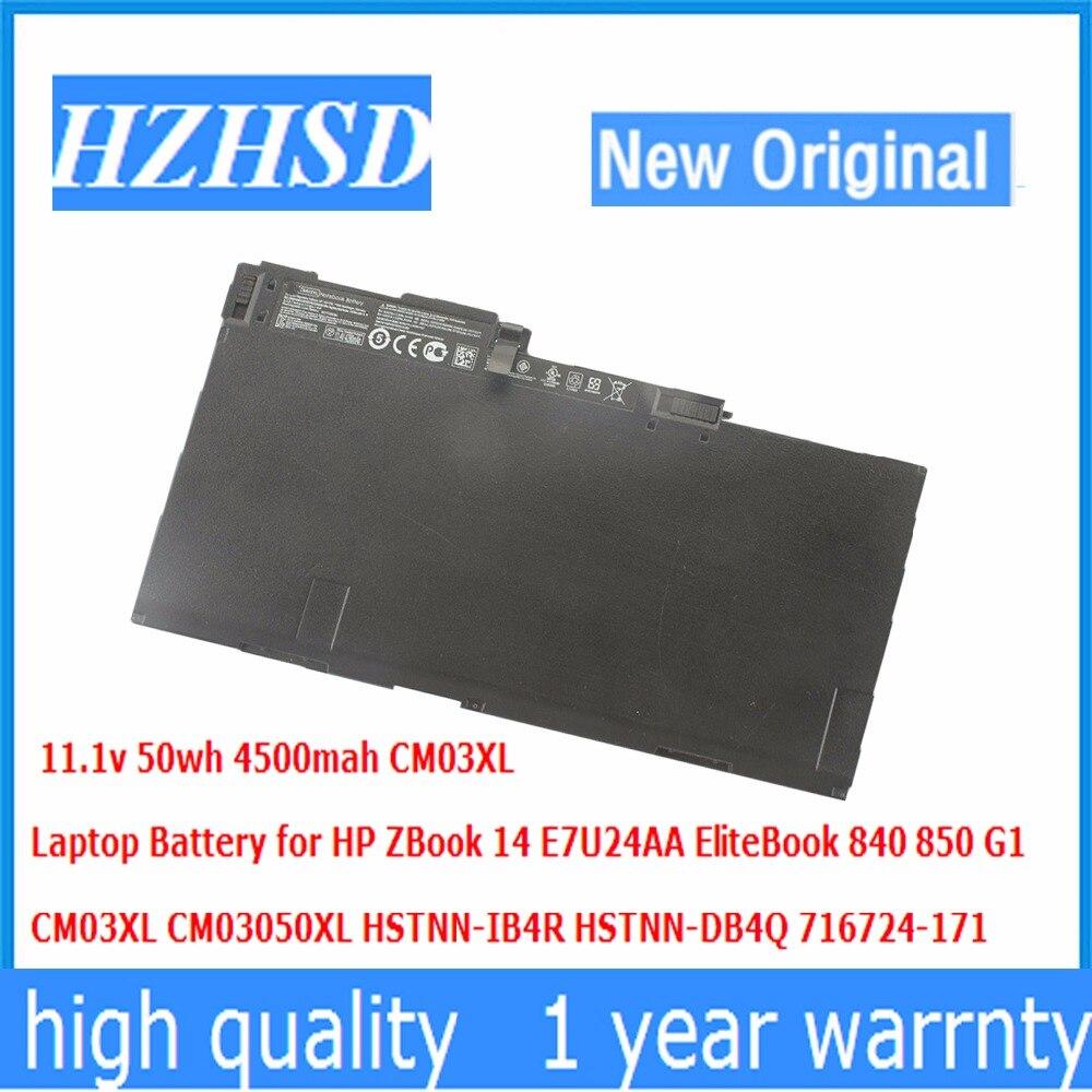 11.1v 50wh 4500mah New Original CM03XL Laptop Battery for HP ZBook 14 E7U24AA EliteBook 840 850 G1 HSTNN IB4R HSTNN DB4Q