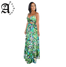 Ameision sexy Two Pieces Set Sleeveless Empire Long Spaghetti Strap Dress Women Summer Flower Print V Neck Backless Beach