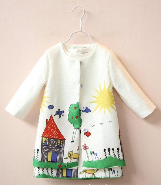 2017 roupa dos miúdos conjuntos de roupas meninas conjunto de roupas crianças primavera marca de graffiti impressão meninas define crianças agasalho (dress + casaco)