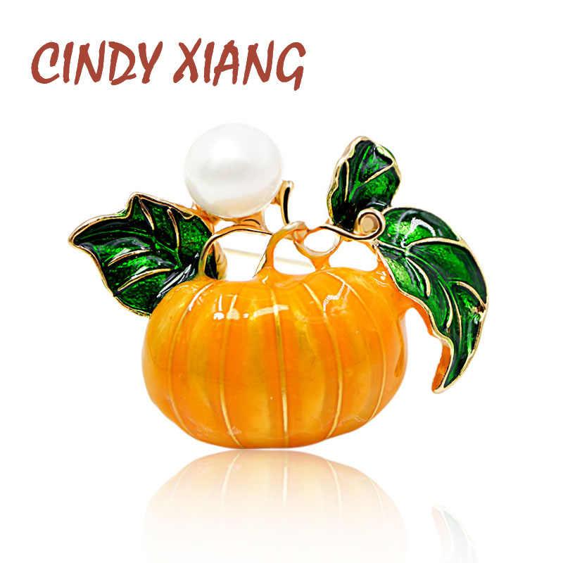 シンディ XIANG 真珠カボチャブローチ女性のためのハロウィンエナメルピンファッションジュエリーオレンジ色の子供ギフトドロップ配送新 2018