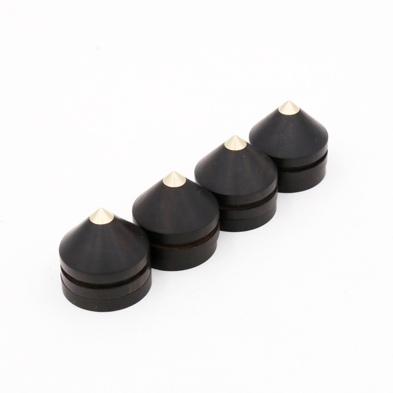 4pcs 23mmx20mm Ebony Wooden Speaker Copper Tip Spike Cone amp 4x23mmx4mm Base Pad Isolation Kit Sets for Hifi  AMP  DVD player 4 pair ebony and metal shock spikes 33mm tube amplifier speaker hiend 4 pcs pure dowel 4 pcs pure wooden mat