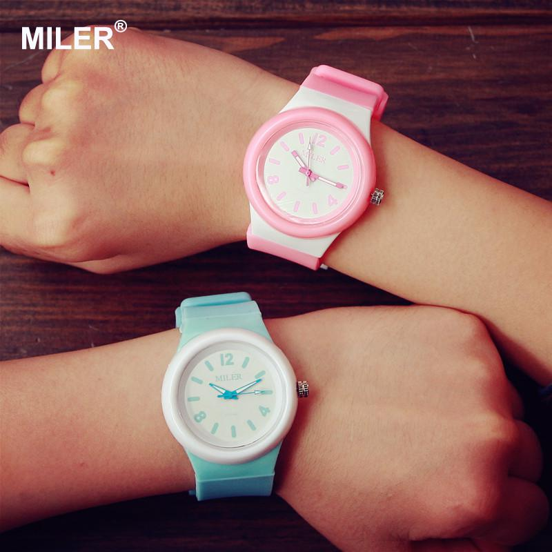 Cute Fashion MILER Jelly Candy Silicone Rubber Women Ladies Girl Students Wrist Watches Bracelet Gift White Pink Mint Green hot sale jelly silicone rubber candy quartz watch wristwatches for women girls students pink white