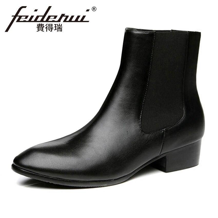 100% Wahr Vintage Echtem Leder Männer High-top Chelsea Stiefeletten Runde Kappe Med Heels Outdoor Handmade Mann Cowboy Schuhe Hqs295