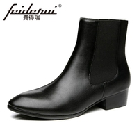 Vintage Genuine Leather Men's High Top Chelsea Ankle Boots Round Toe Med Heels Outdoor Handmade Man Cowboy Shoes HQS295