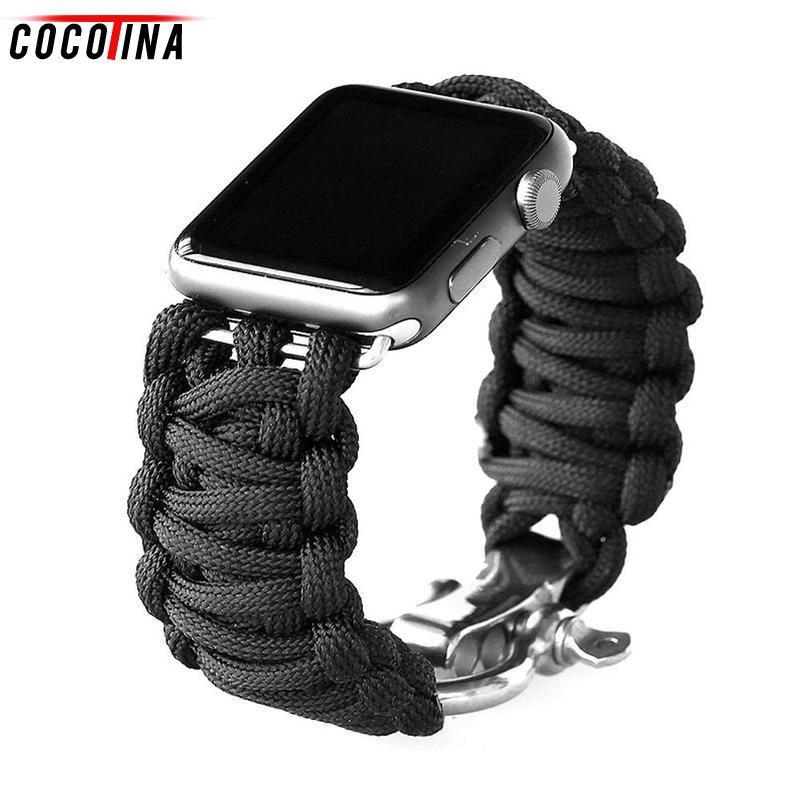 Cocotina Outdoor Travels Nylon Braided Rope Watch Strap for Apple iWatch 38mm/42mm Watch Band Bracelet Montre ABD6892 shambhala seven diamond rhinestone bead ball nylon braided bracelet