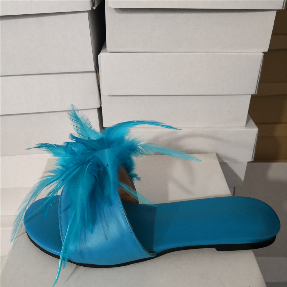 DoraTasia marque Design grande taille 35-47 loisirs plume Top qualité plage femmes chaussures d'été chaussures plates femme pantoufles tongs - 2