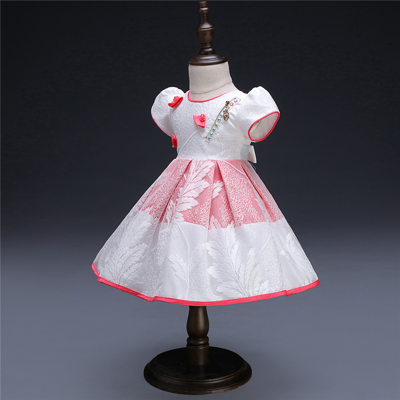 O Vestido Da Menina bebê Bonito O-pescoço Infantil 1 Ano da Festa de Aniversário Vestido de Princesa Newborn Bow Roupas de Batismo Do Bebê