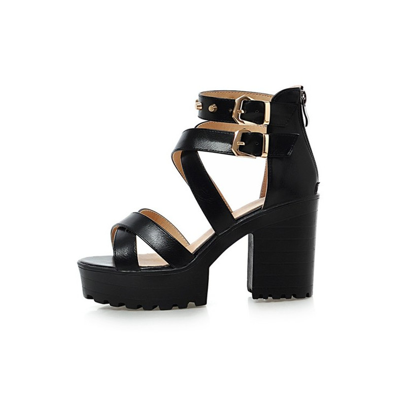 2019 New summer High Heels Sandals Platform Sandals for Women Fashion ankle strap Thick Heels Shoes Big Size 432019 New summer High Heels Sandals Platform Sandals for Women Fashion ankle strap Thick Heels Shoes Big Size 43