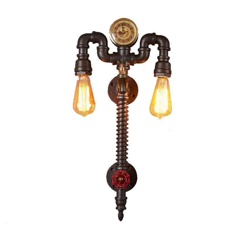 Creative retro personality clock wall lamp cafe bar lights industrial wind restaurant balcony loft wrought iron wall sconce bra
