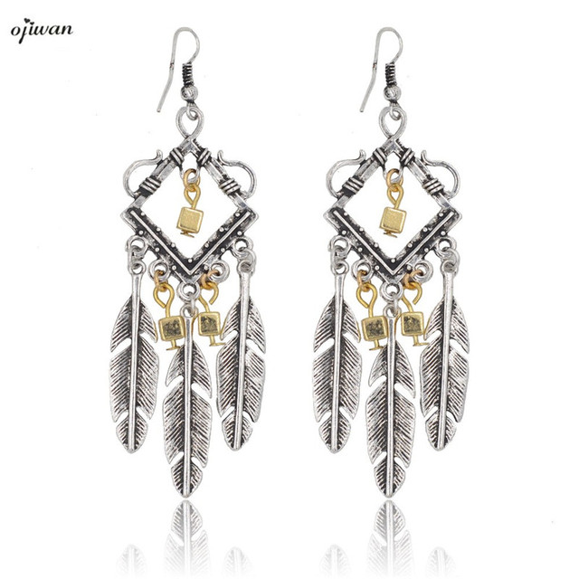 Aritos Tribal Earrings Women Jewelry Gypsy Hippie Boho Chic Indian American Feather Chandelier Cow