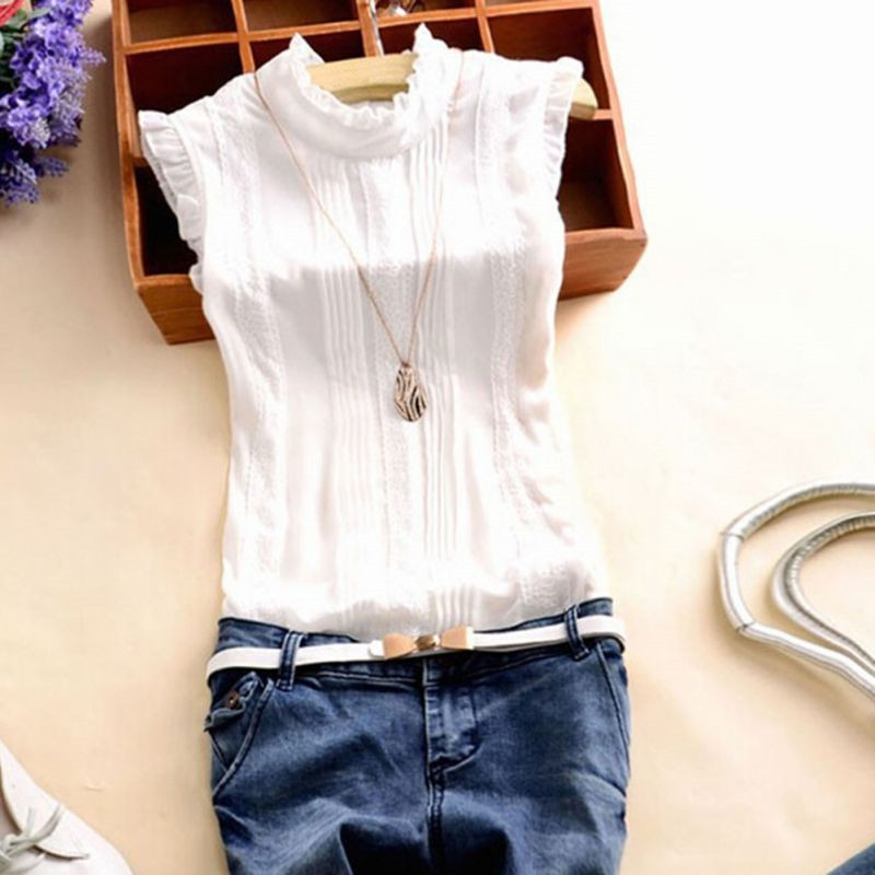 Women Ruffle Stand Collar Slim T-Shirt Tops Lady Casual Lace Sleeveless Shirt Ladies Tee Green/White Chiffon