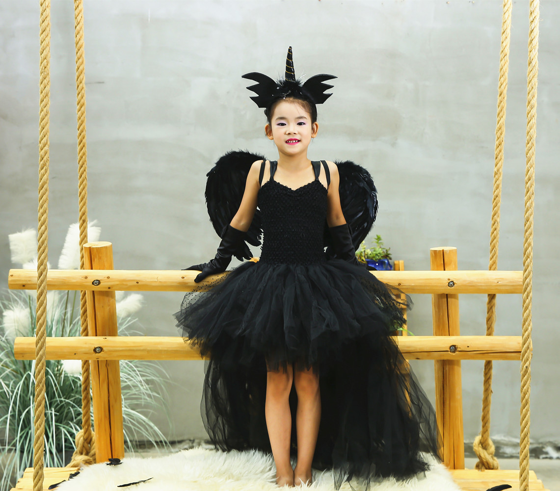 Halloween Black Devil New Style Unicorn Dress Girls Dress Tutu Angel Wings Headpin Sets Children Stage Performance Dresses Gifts