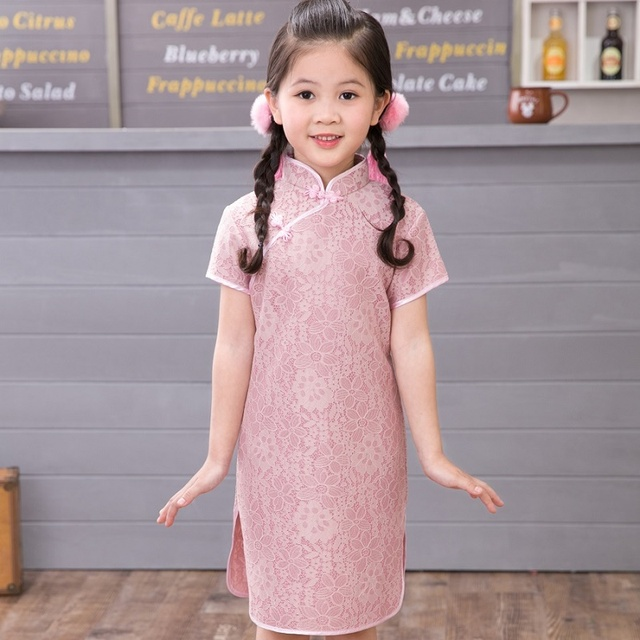 2018 Summer Girls Cheongsam Retro Lace Children Qipao Chinese Chipao Mandarin Gown For Girl High