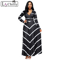 La Chilly Women Big Size Vestidos Casuais Black Striped V Neck Long Sleeve Maxi Dress 2018