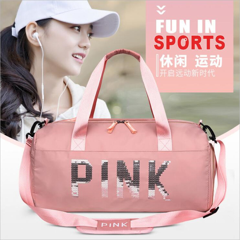 2019 Cheap Sequins Black Gym Bag Women Shoe Compartment Waterproof Sport Bags for Fitness Training Yoga Bolsa Sac De Sport