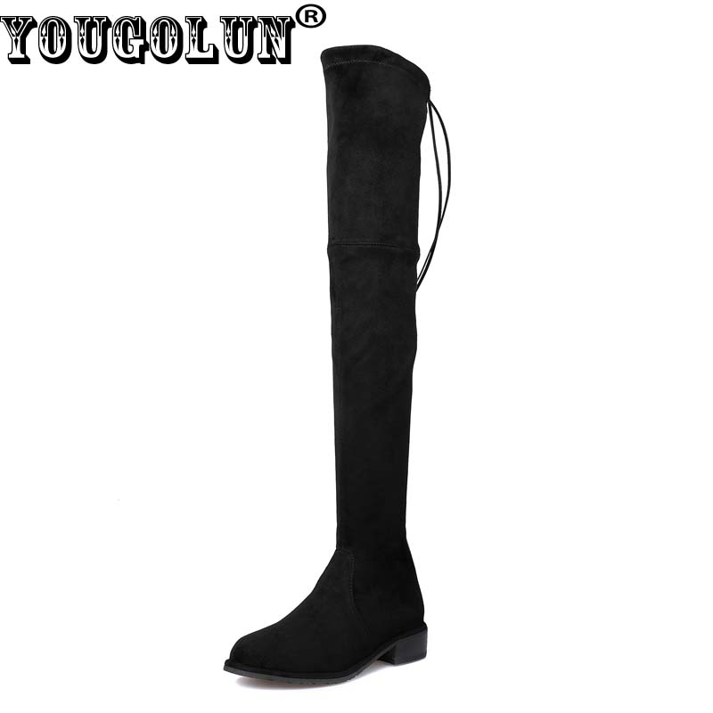 купить YOUGOLUN Women Thigh High Boots Sheepskin Suede 2017 Autumn Winter Lowland Square Heel 3 cm Low Heels Black Lace up Shoes #N-200 недорого