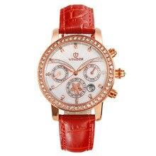 Vinoce2016 Nuevas señoras de la manera reloj de la marca de lujo impermeable tres multifunción calendario Domingo pantalla del diamante de la correa Relogio