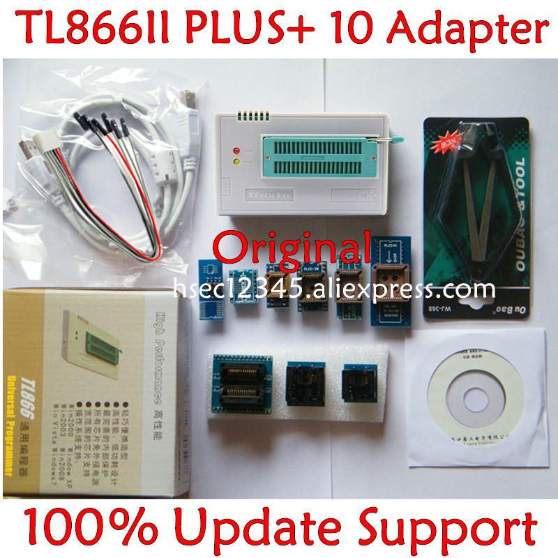100 original V8 51 TL866ii Plus programmer 10 Adapter XGecu minipro TL866 programmer socket NAND programmer