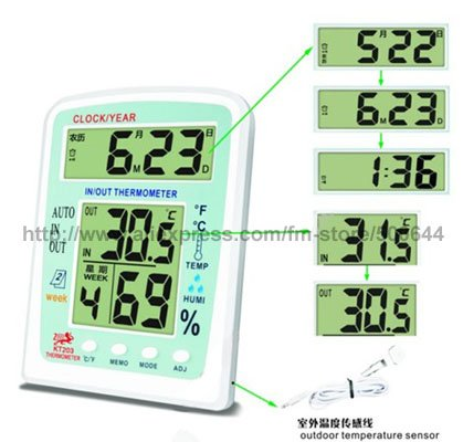 Indoor Outdoor Dual Screen Digital Thermometer Hygrometer/Multifunction Thermo-hygrometer & Free Shipping